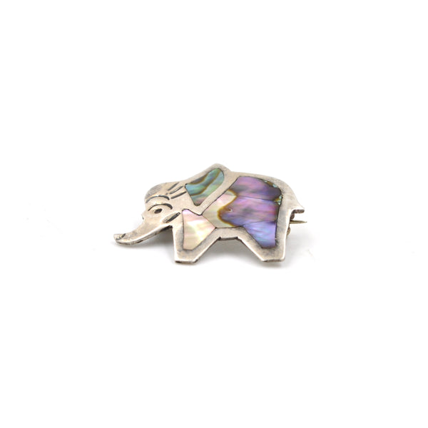 1960s Taxco Ablone & Sterling Elephant Pin (925)