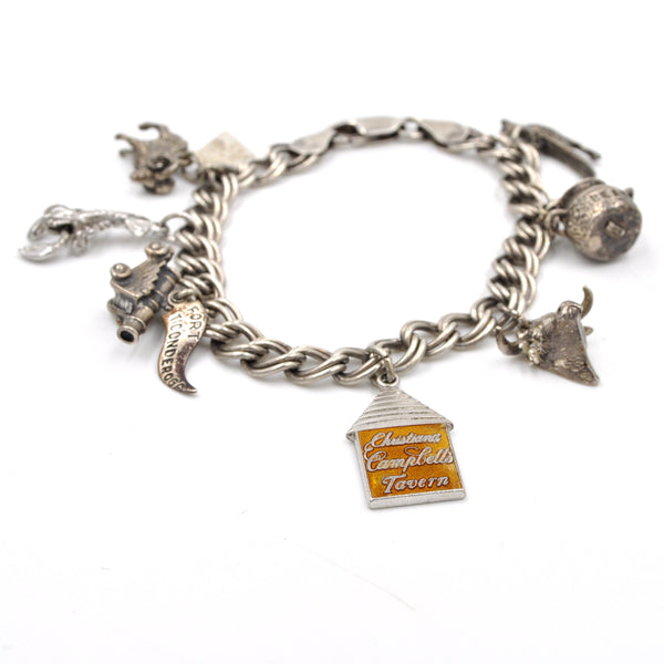 Vintage Sterling Silver Travel Charm Bracelet on Italian Double Link Chain (925)