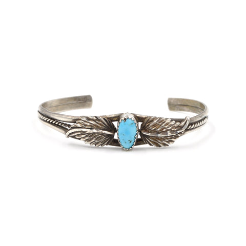 Vintage Petite Turquoise Leaf Stamped Cuff (.925) - Sleeping Beauty Turquoise