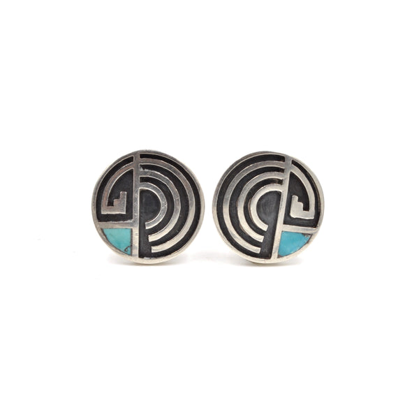 Vintage Maze Overlay Sterling Silver Earrings with Turquoise Inlay (.925)