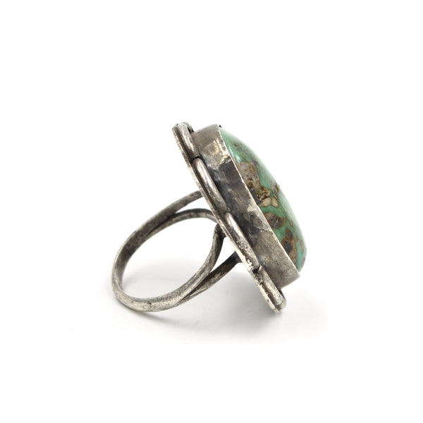 Rare 1960s Green Turquoise Ring (.925) Size: 9