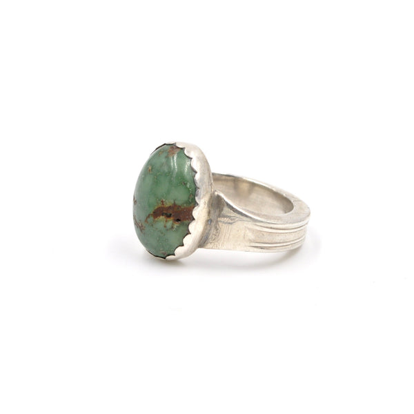 Vintage Heavy Sterling Silver Turquoise Ring (925) - Size: 8.25