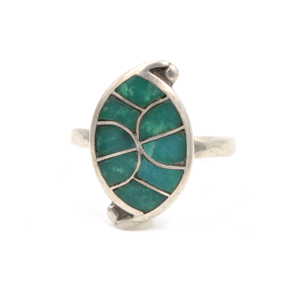 1970's Inlay Sterling Ring (925) Size: 5.5