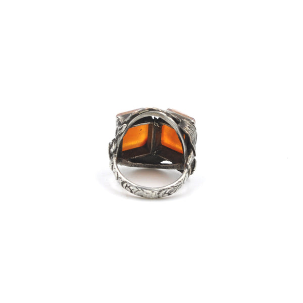 Double Cameo Sterling Silver Ring (Size 6.5)