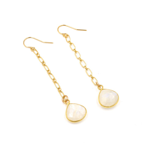 moonstone teardrop chain earrings