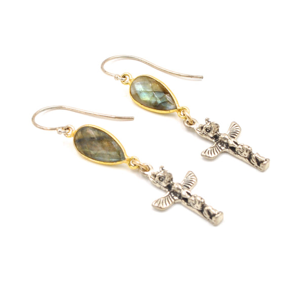 labradorite totem earrings
