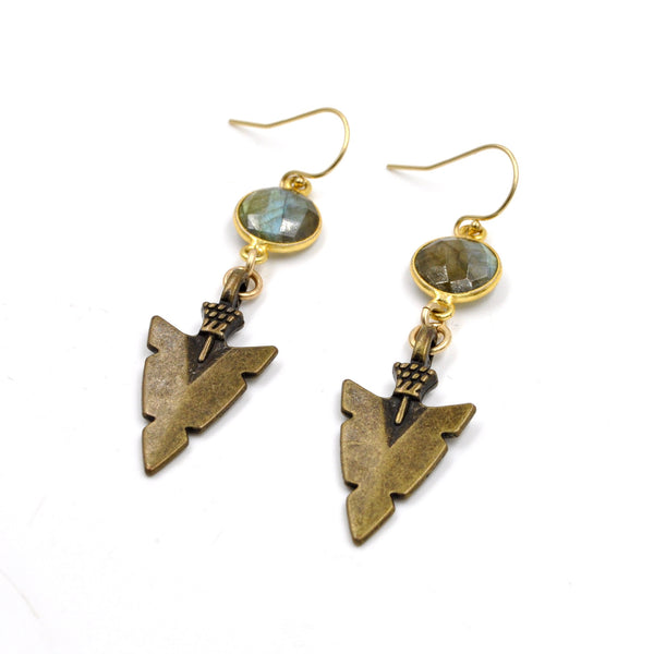 Labradorite Arrowhead Earrings