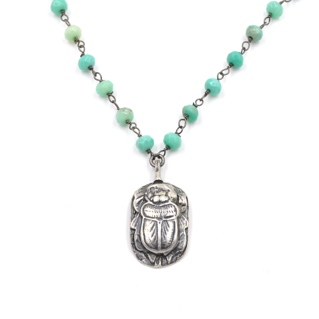 scarab chrysocolla necklace