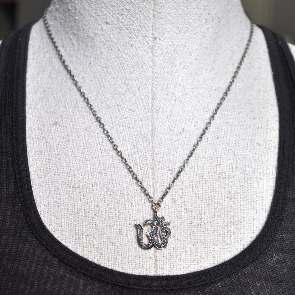 diamond om necklace