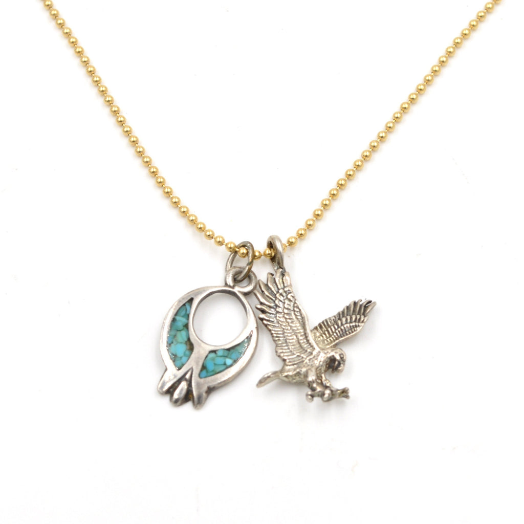 Vintage Eagle & Turquoise Inlay Blossom Necklace