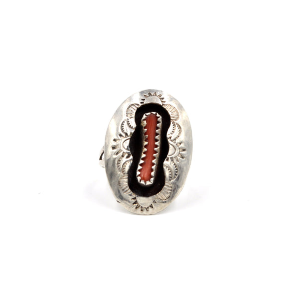 Vintage Coral Shadowbox Sterling Silver Ring (925) Size: 5