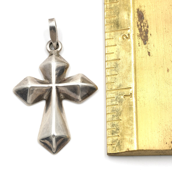Puffed Sterling Silver Mexican Cross