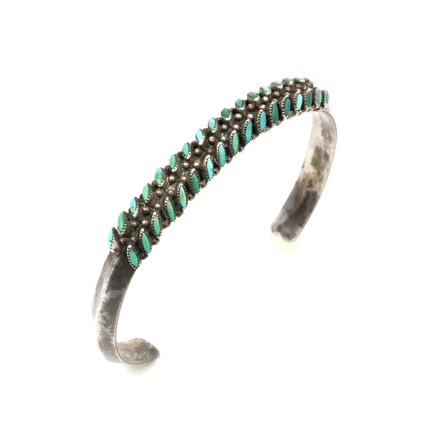 Vintage Turquoise Needlepoint Carinated Sterling Cuff