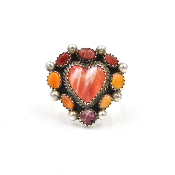 Spiny Oyster Heart Cluster Ring (925) Size: 6.75