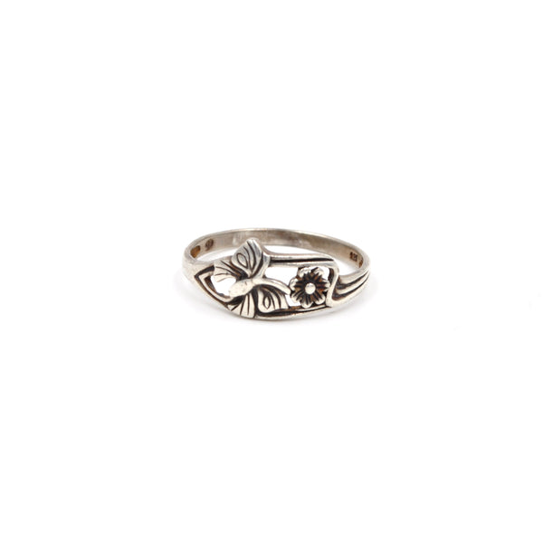 Sterling Butterfly & Flower Ring (Size: 8)