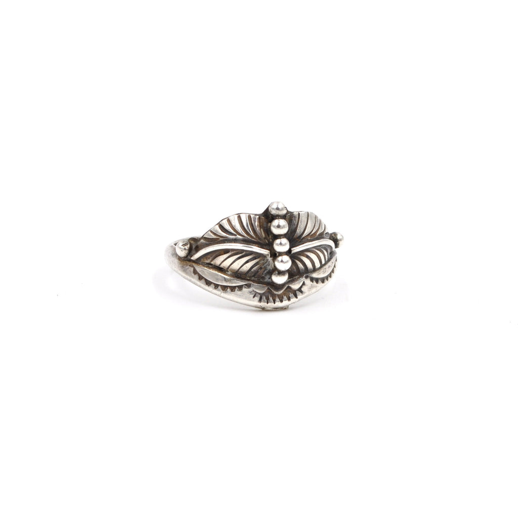 Sterling Signed Sun Leaf Ring // Size: 8
