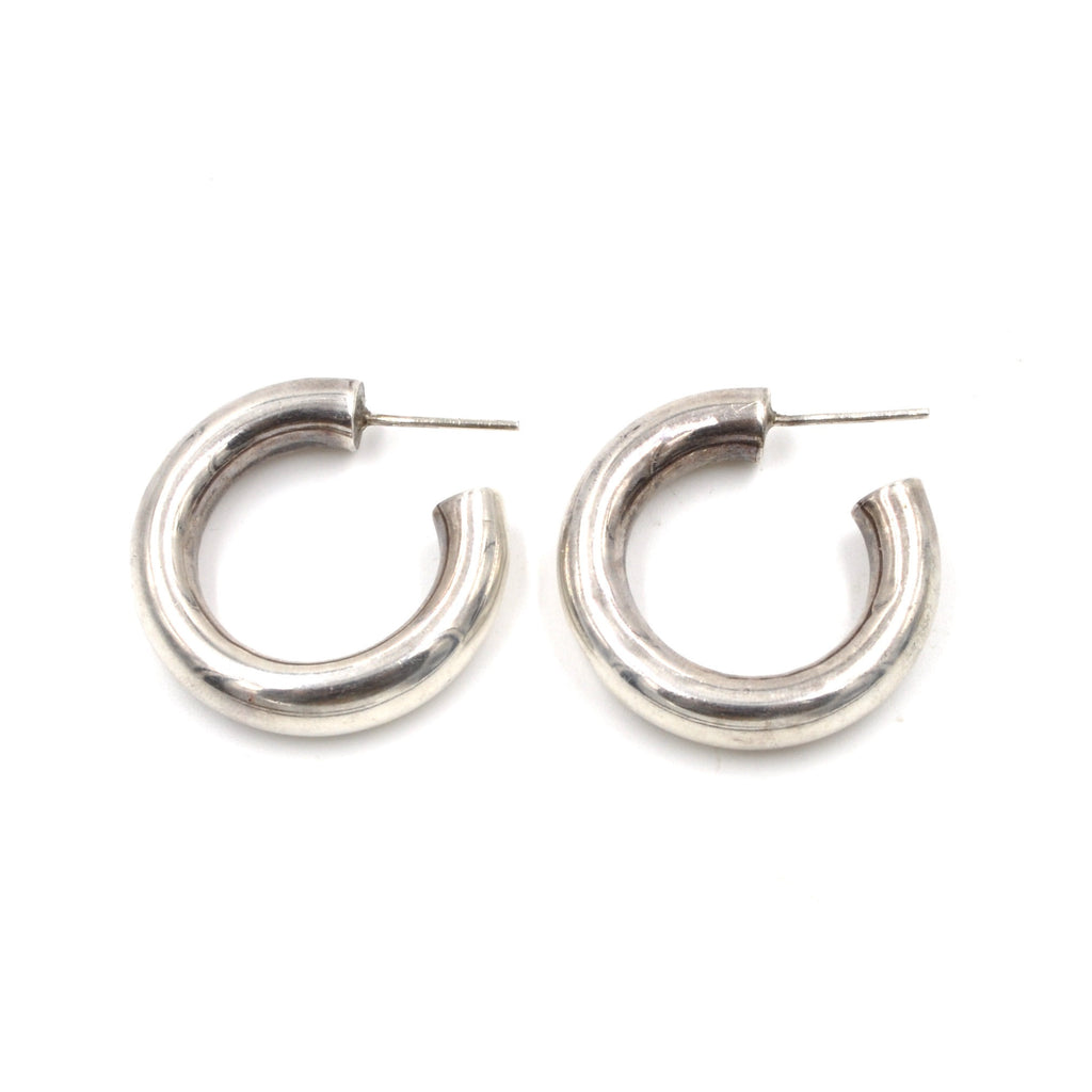 1980's Puffed Sterling Hoops