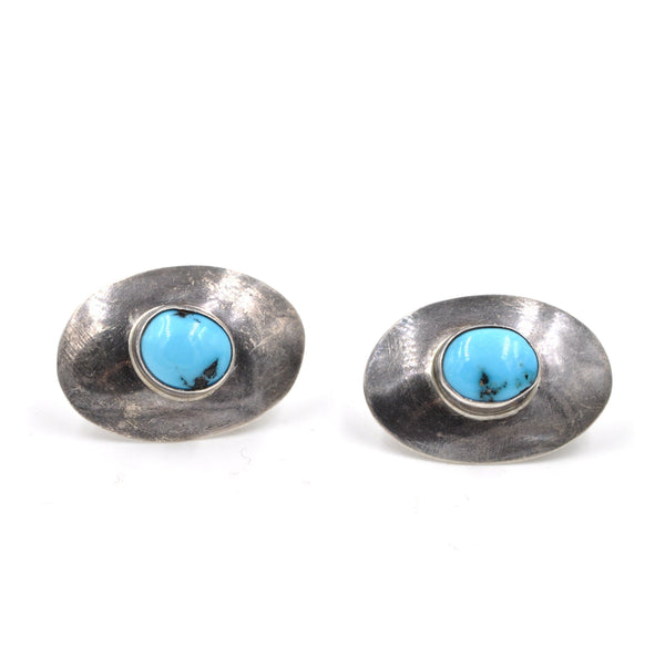 Turquoise Sterling Saucer Earrings
