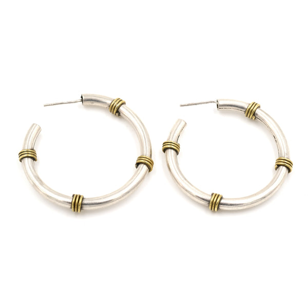 1980's Sterling Silver & Brass Wrapped Hoop Earrings