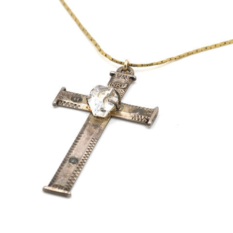 Sterling Silver Cross with Crystal Detail Necklace