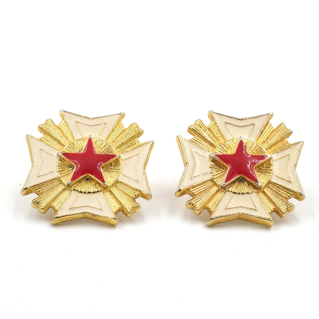 Estate Vintage Goldtone Earrings // Red Star Earrings // Vintage Statement Earrings