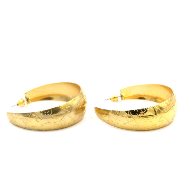 Goldtone Patterned Hoop Earrings