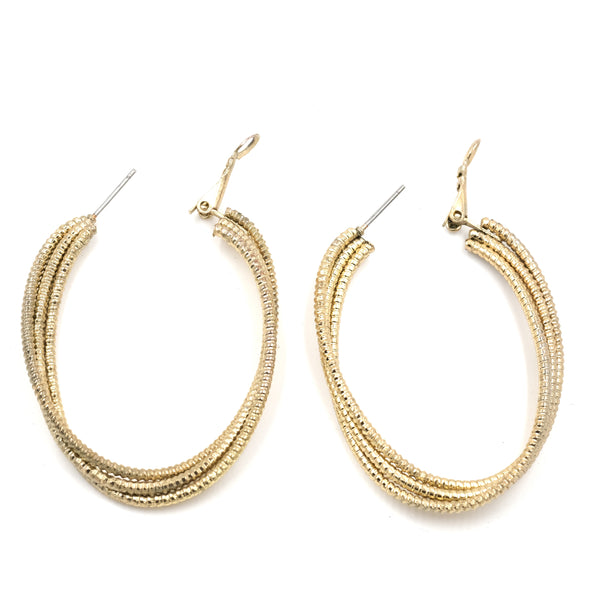 90s Goldtone Triple Hoop Earrings