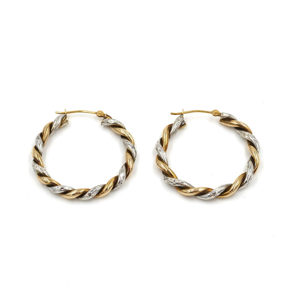 1990's Mix Metal Twisted Hoop Earrings