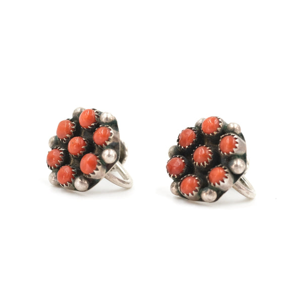 Coral Cluster Stud Earrings