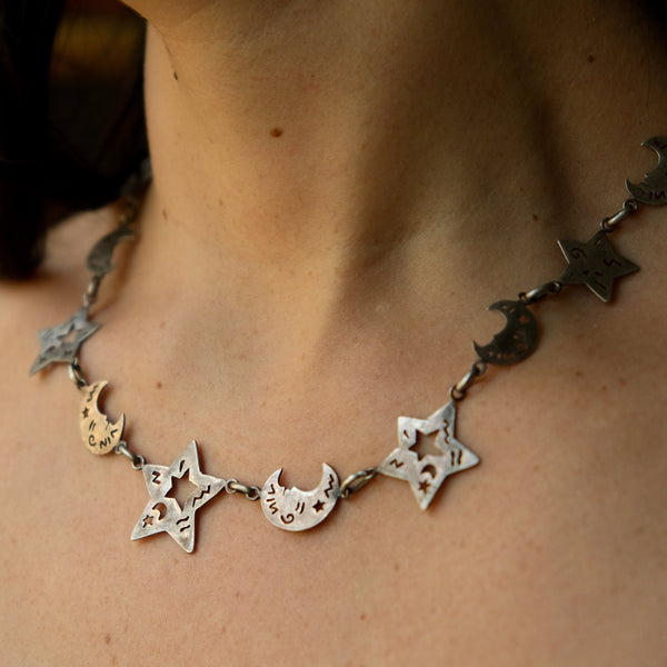 Vintage Moon & Star Cut Sterling Silver Necklace