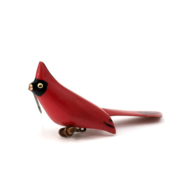 Paint Wood Cardinal Pin