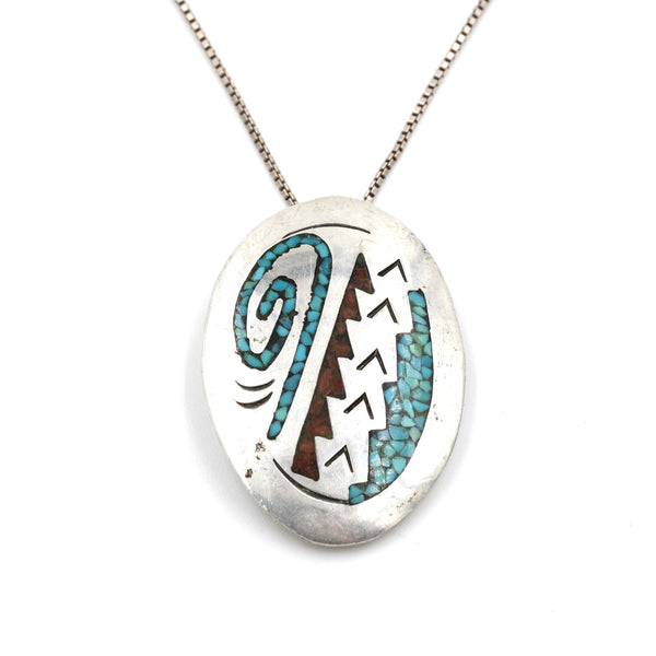 Charles Singer Turquoise & Coral Chip Inlay Sterling Silver Pin/Pendant