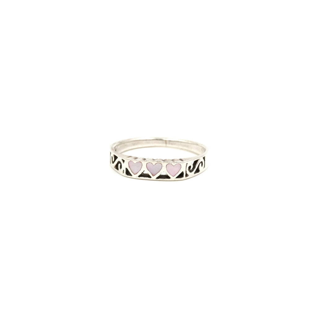 Sterling Mother of Pearl Heart Band // Size: 9.75