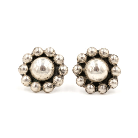 Sterling Taxco Flower Clip Earrings
