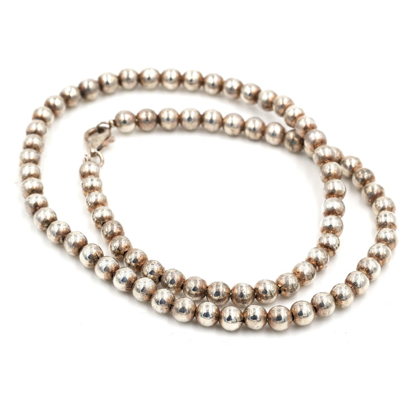 Italian Sterling Bead Necklace 16.25""