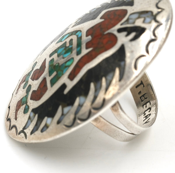 Navajo Turquoise, Coral & Onyx Chip Inlay Eagle Dancer Ring