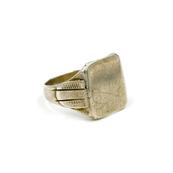 Early Vintage Sterling Silver Signet Ring // Size: 9.75