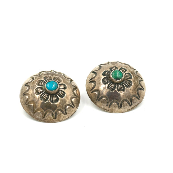 Vintage Turquoise Sterling Clip Earrings