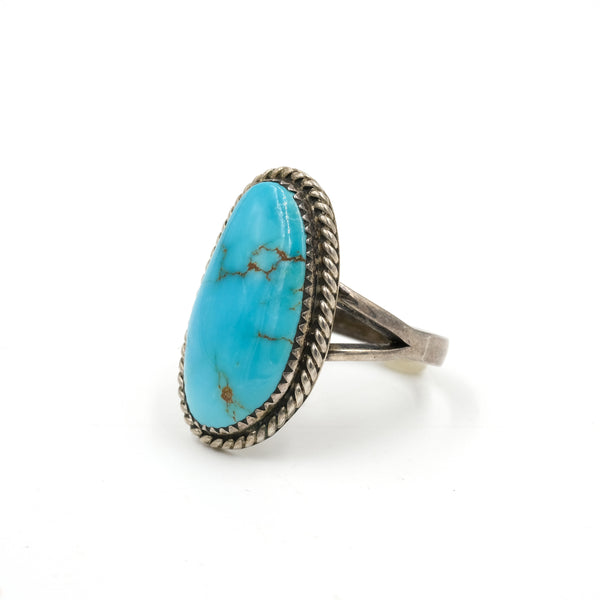 1970s Sterling Turquoise Ring // Size: 10.5
