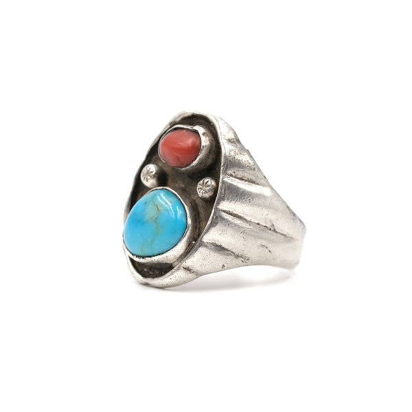 Turquoise & Coral Cast Sterling Ring