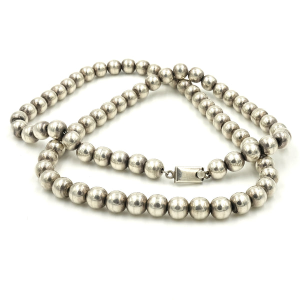 "Heavy Sterling Silver Ball Necklace (30"")"