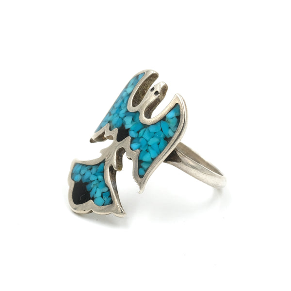 Turquoise Chip Inlay Peyote Bird Ring // Size: 9