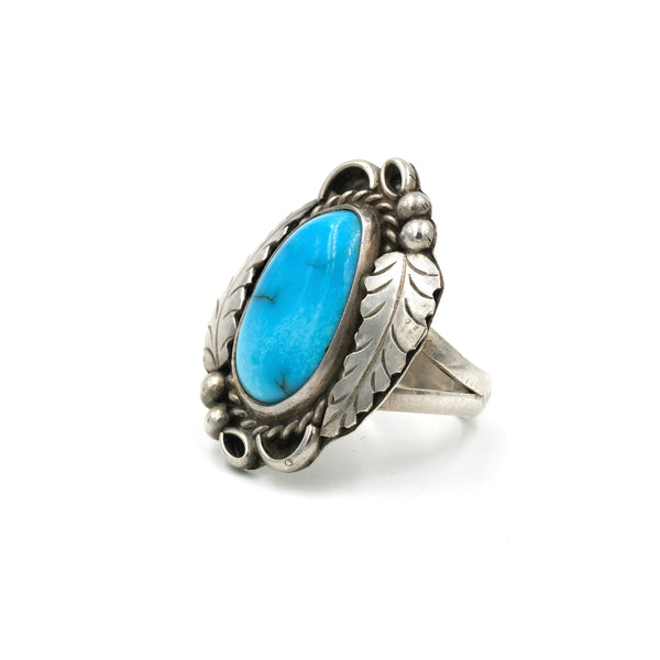 Double Leaf Turquoise Statement Ring // Size: 6