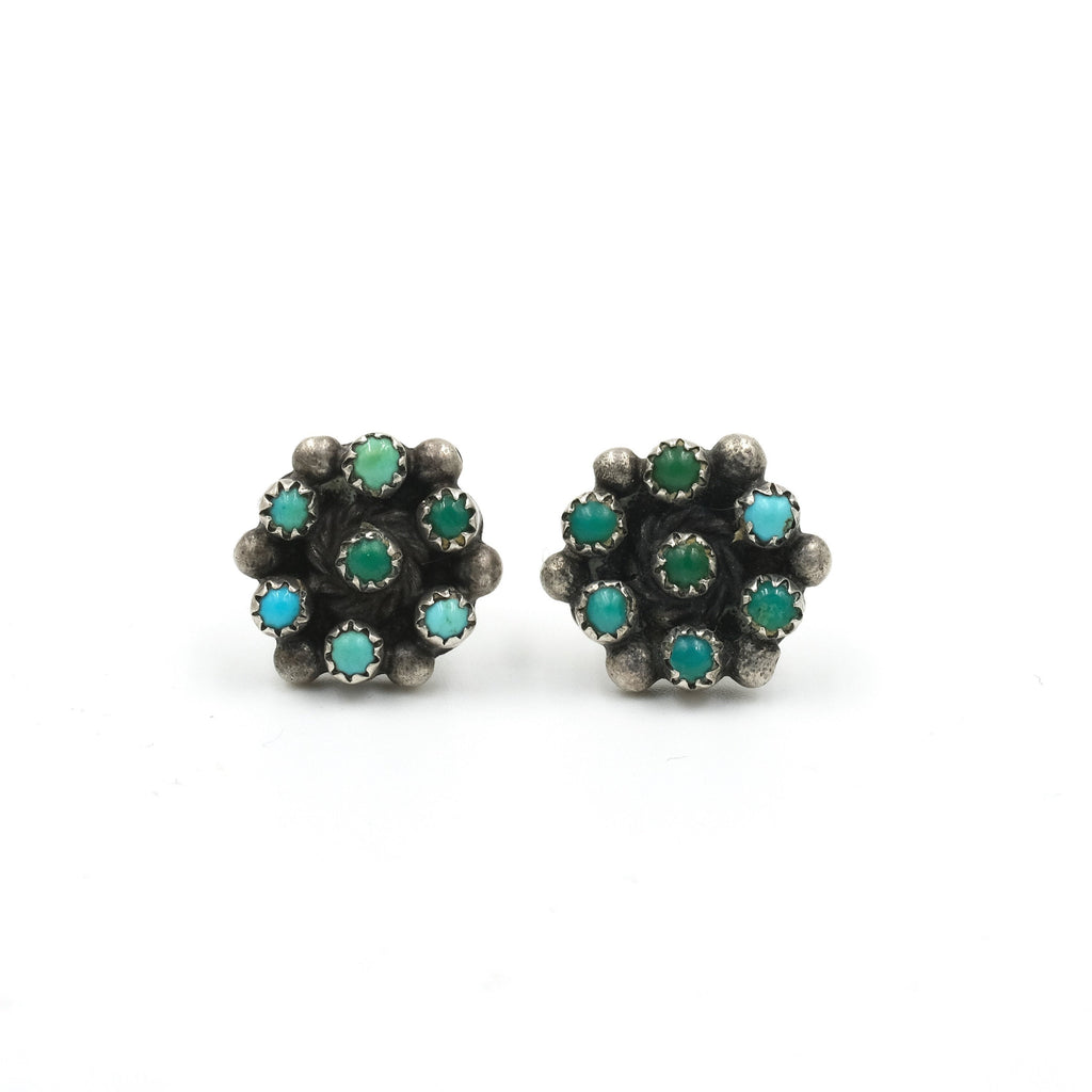1960s Turquoise Petit Point Stud Earrings