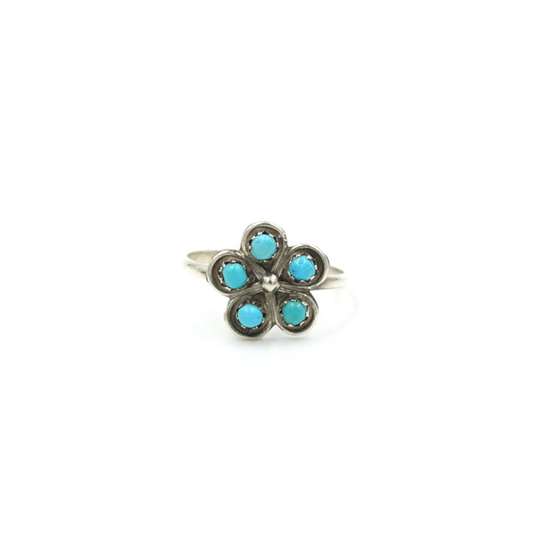 Little Petit Point Turquoise Ring // Size: 5.5