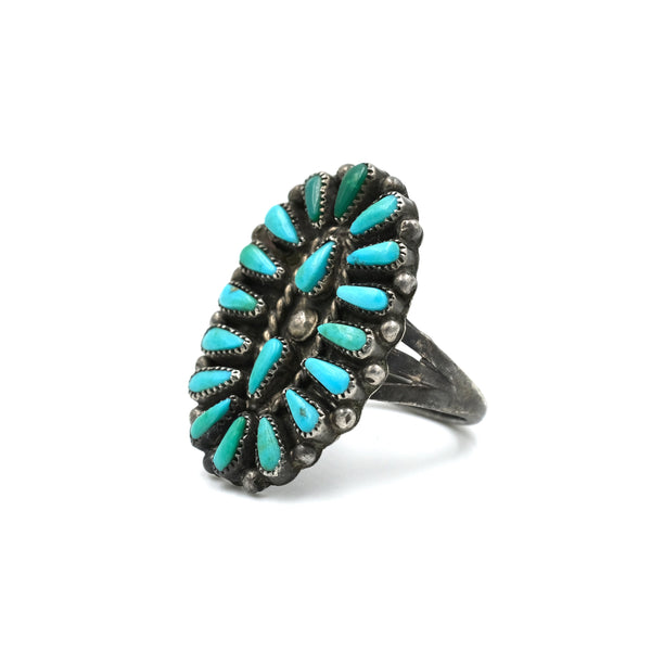 Old Petit Point Turquoise Ring // Size: 6.5