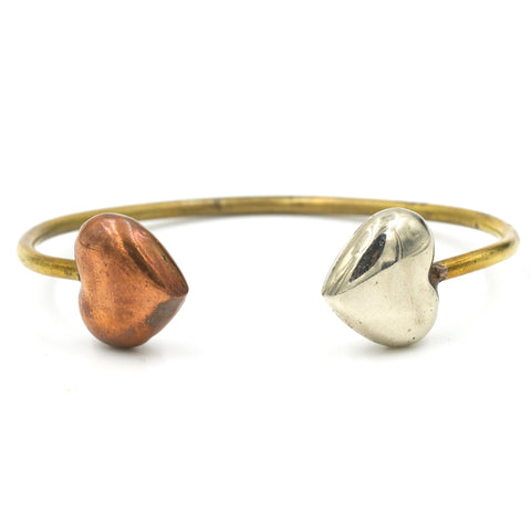 Mix Metal Puffy Heart Cuff