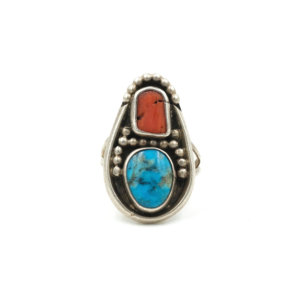 Turquoise & Coral Sterling Dot Ring // Size: 6.75