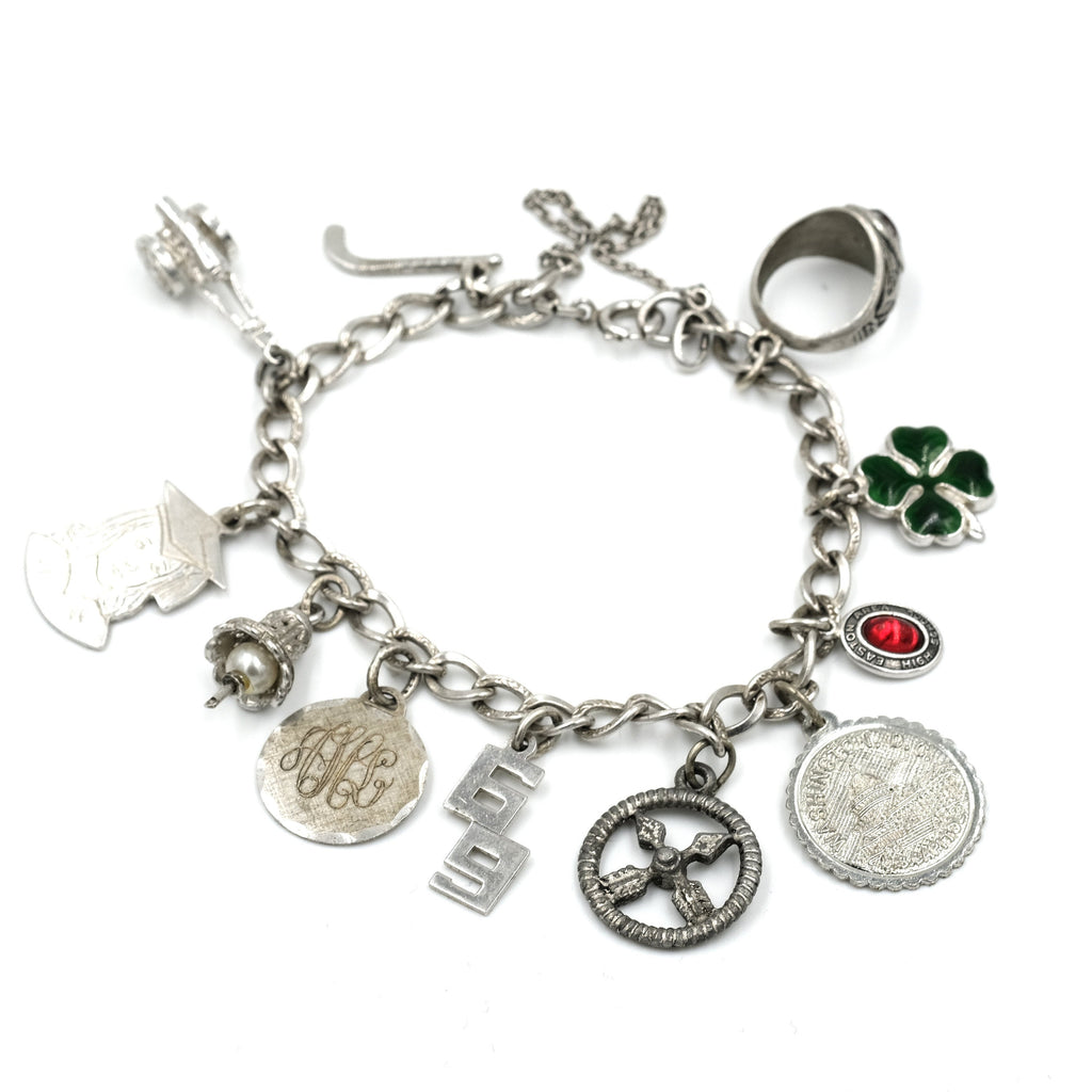 Vintage Sterling Travel Charm Bracelet