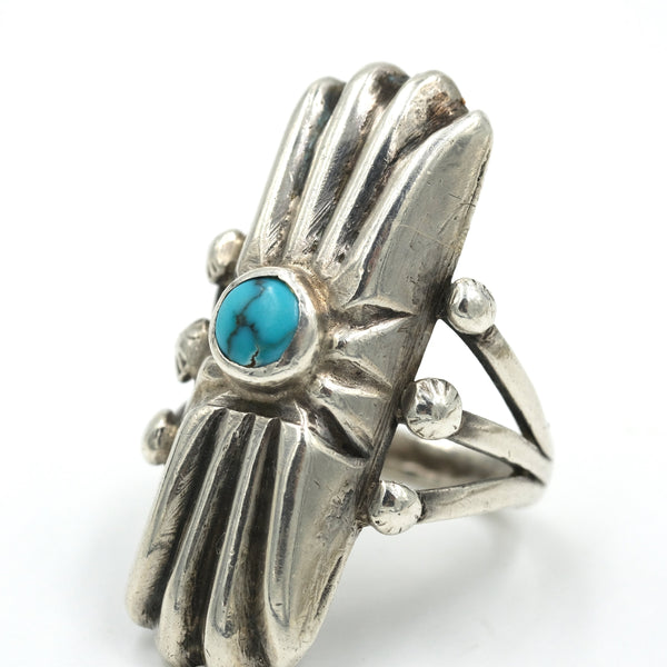 Turquoise & Sterling Statement Ring  // Size: 5.5